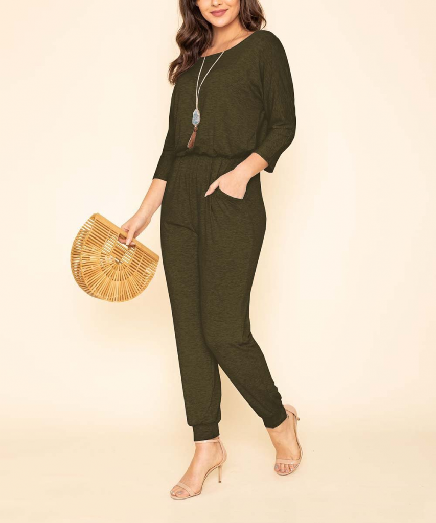 Olive Three-Quarter Sleeve Blouson Jumpsuit - by egs by eloges