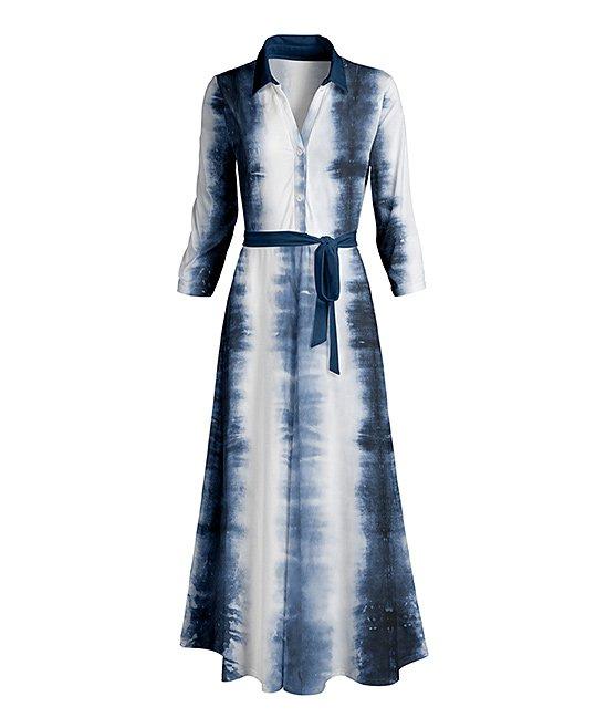 Navy & White Tie-Dye Tie-Waist Maxi Shirt Dress -