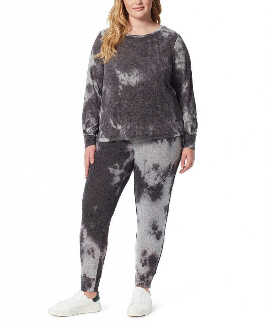 Black Tie-Dye Rainey Sweatshirt by Jessica Simpson