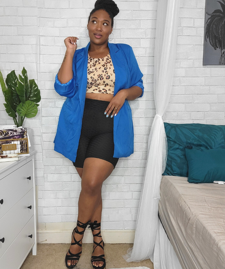 how to style plus size biker shorts with blue blazer