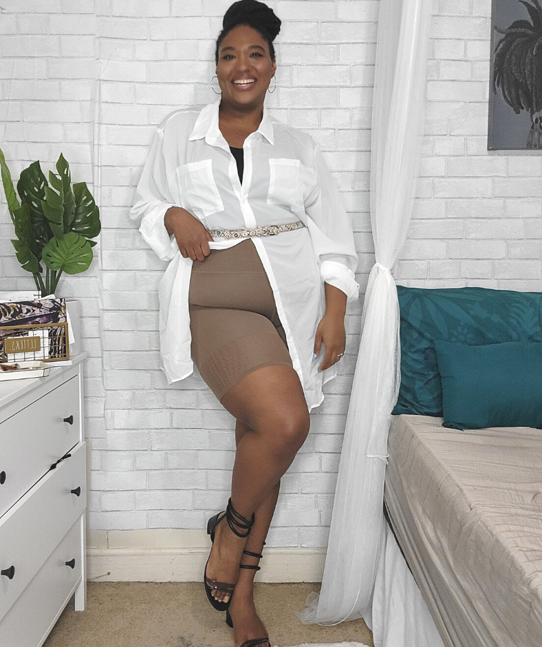 styling plus size biker shorts with white button up top and black heels