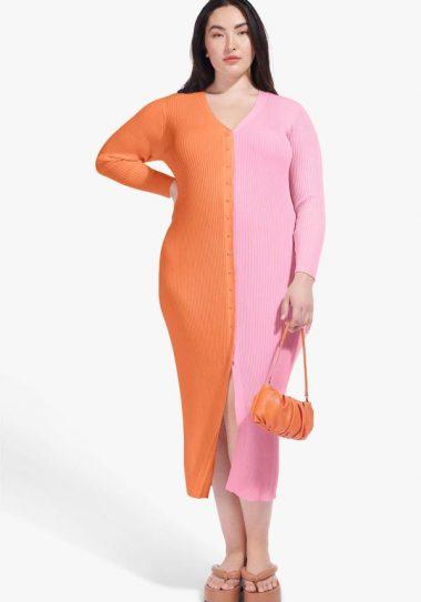 STAUD Shoko dress in pink and tangerine