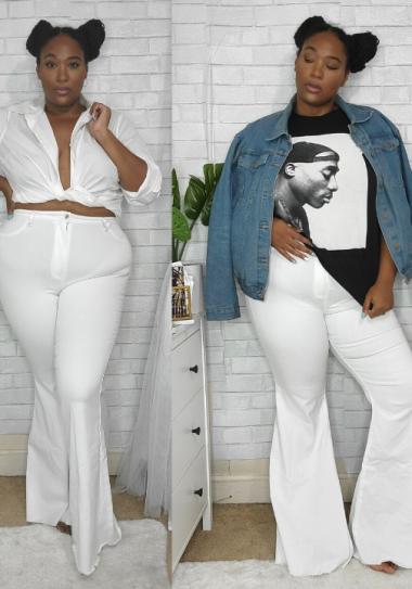 plus size white jeans