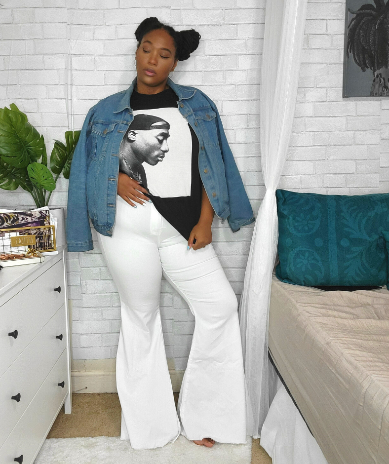 plus size white jeans with graphic tee and jean jacket
