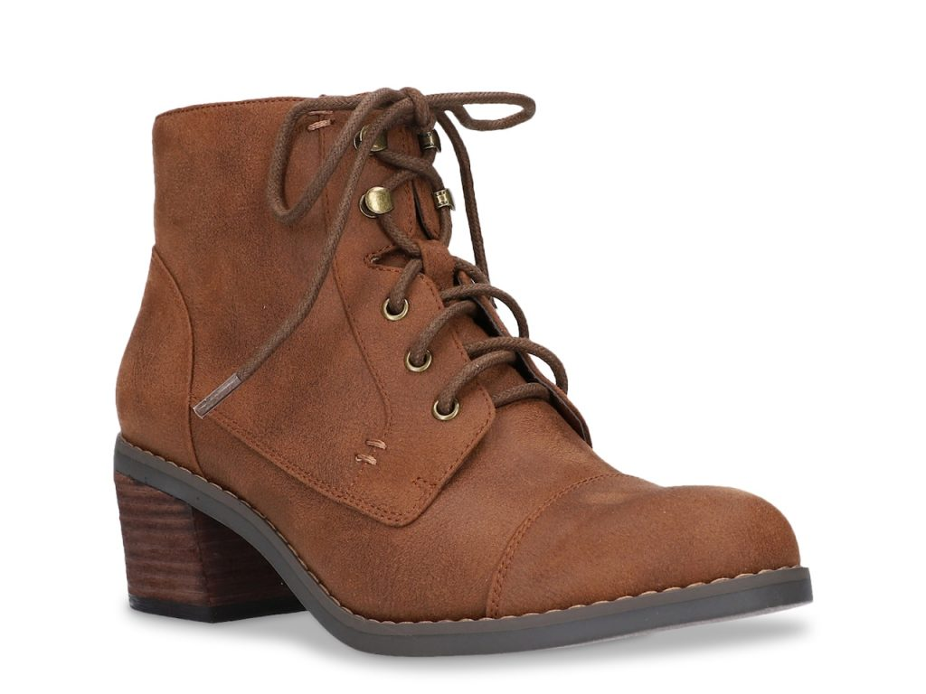 brown boots with a medium heel