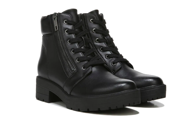 black combat boots with sipper and laces