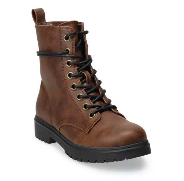 brown combat boots with a black rubber sole