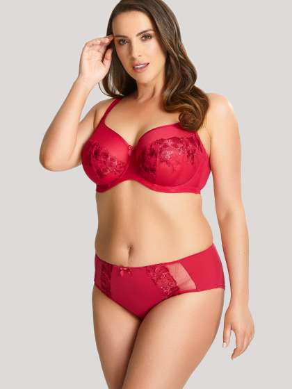Here are 5 Full Figured Bra Brands to KNOW! Image of a woman wearing the Panache Logan in Rouge