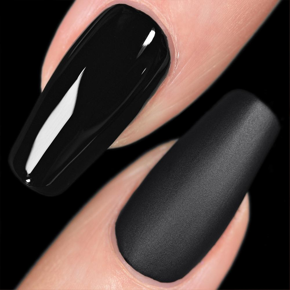 some of the coolest fall nail trends- a side by side photo of glossy and matte black nails