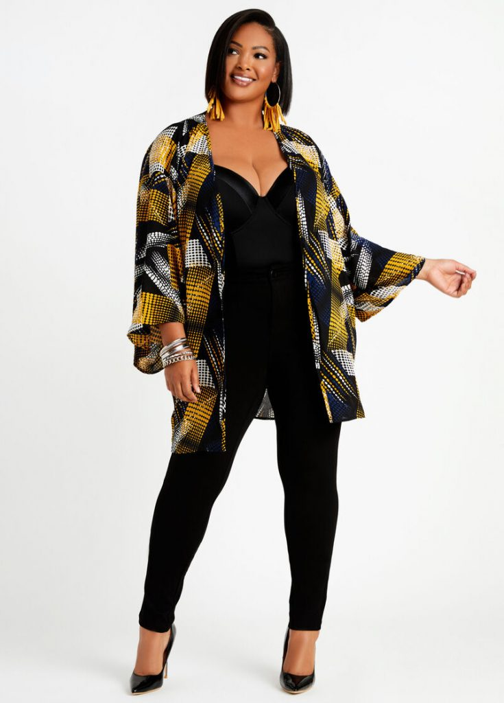 Ashely Stewart dot colorblock kimono jacket in yellow, black, white and rust colors.