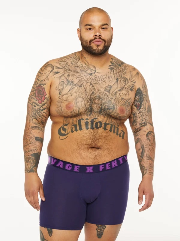 a plus size man wearing a logo printed boxer short