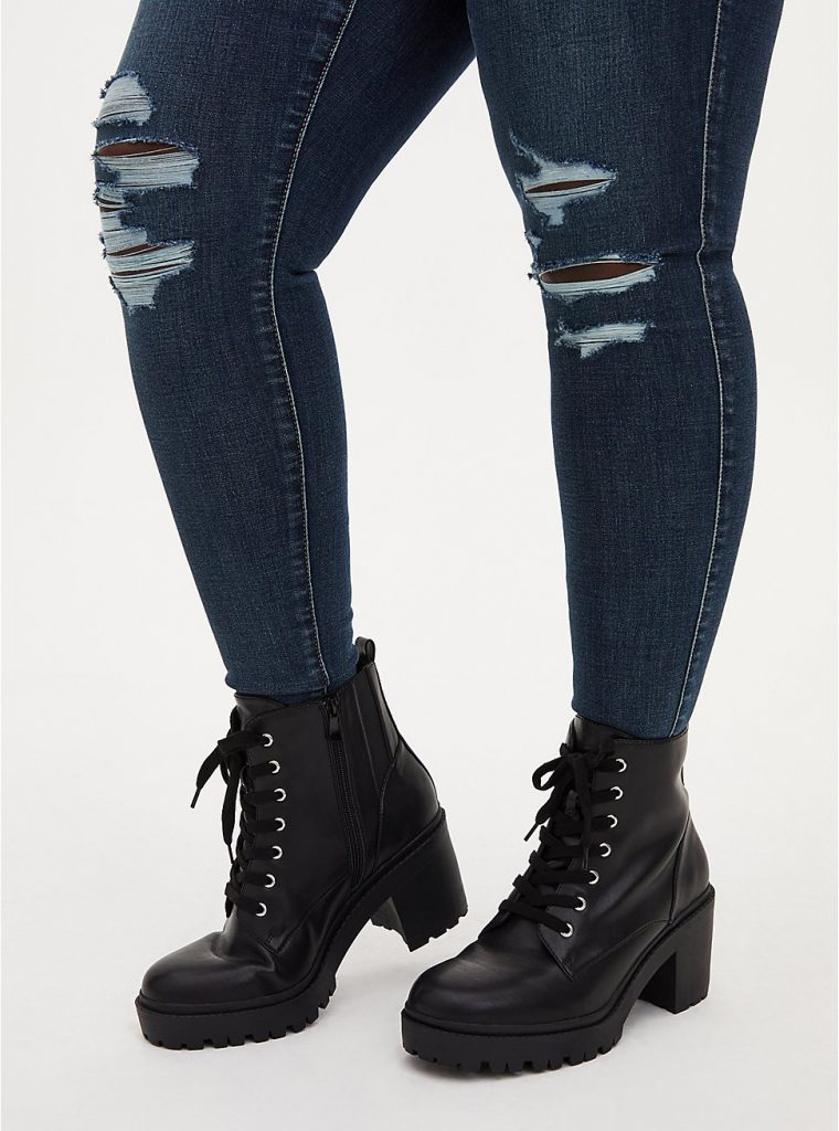 Chunky Fall and Winter boot from Torrid—Black Chunky Lace-Up Hiker Boot