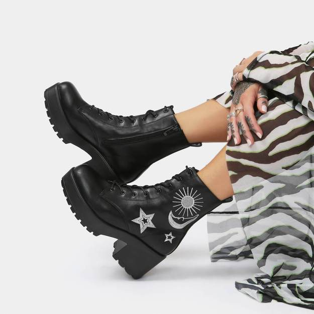 Chunky Fall and Winter boot from Koi Footwear—Astro Silver Star & Moon Chunky Boots