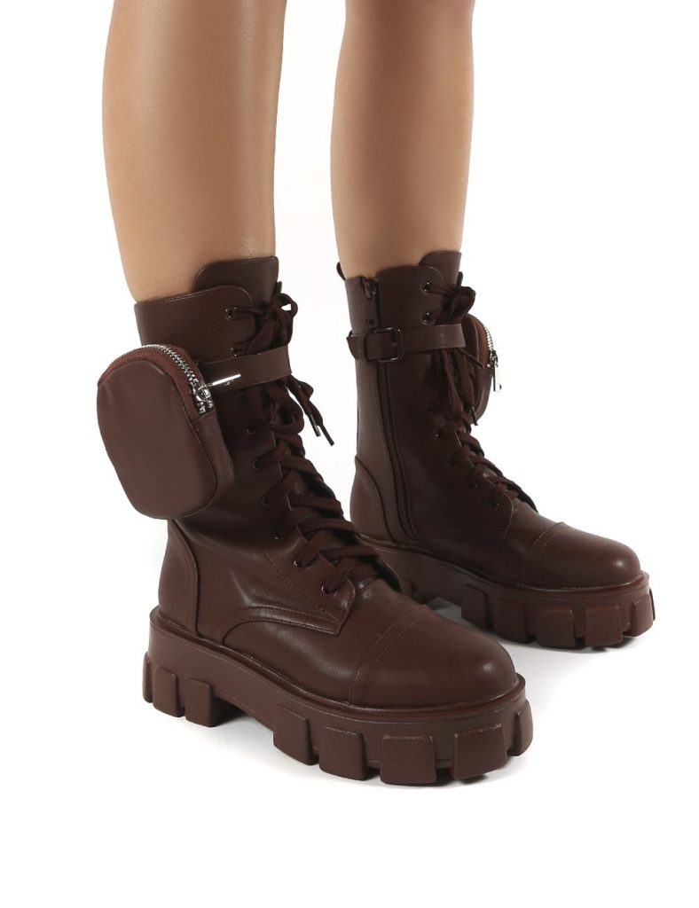 Chunky Fall and Winter boot from Public Desire—Intention Wide Fit Chocolate Chunky Sole Pouch Ankle Boots
