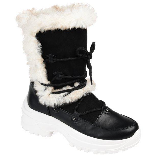 Fall and Winter Fur Boots Walmart—Brinley Co. Women's Lightweight Fashion Faux Fur Trim Winter Boots
