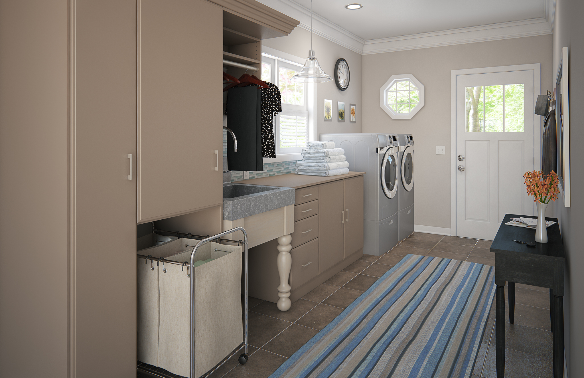 ... Laundry Room More Pleasant And Efficient With Smart Storage Solutions.  Open Shelving Keeps Commonly Used Cleaning Supplies Close At Hand, ...