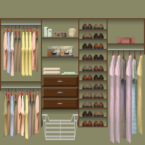 Make The Most Of A Reach In Closet With Three Areas For Hanging Clothes,  Shelves, Drawers, And A Pull Out Basket.