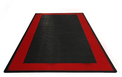 17'x8' One Car Parking Mat - Jet Black and Racing Red