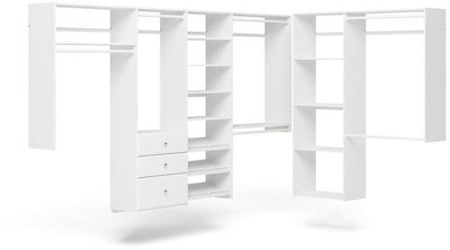 L-Shape Walk-In Closet - White