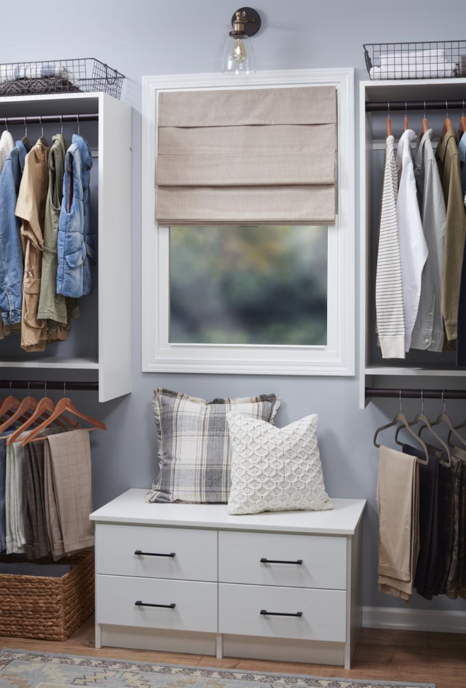 His & Hers Walk-In Closet with Window Bench