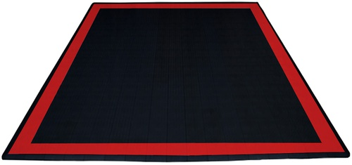 17'x17' Two Car Parking Mat - Jet Black and Racing Red