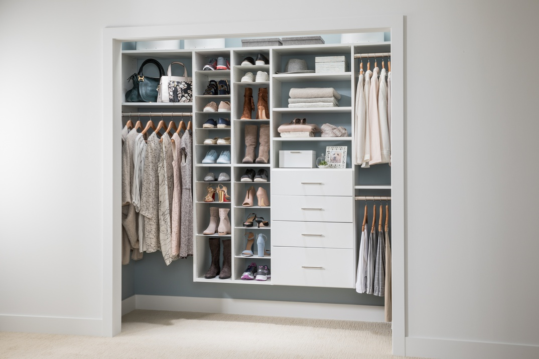 Reach-in Closet with Adjustable Shoe Organizer