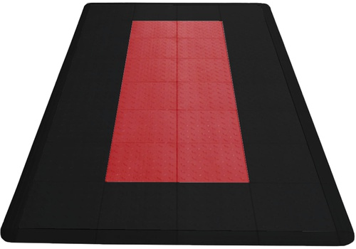 8'x4' Motorcycle Parking Mat  - Jet Black and Racing Red