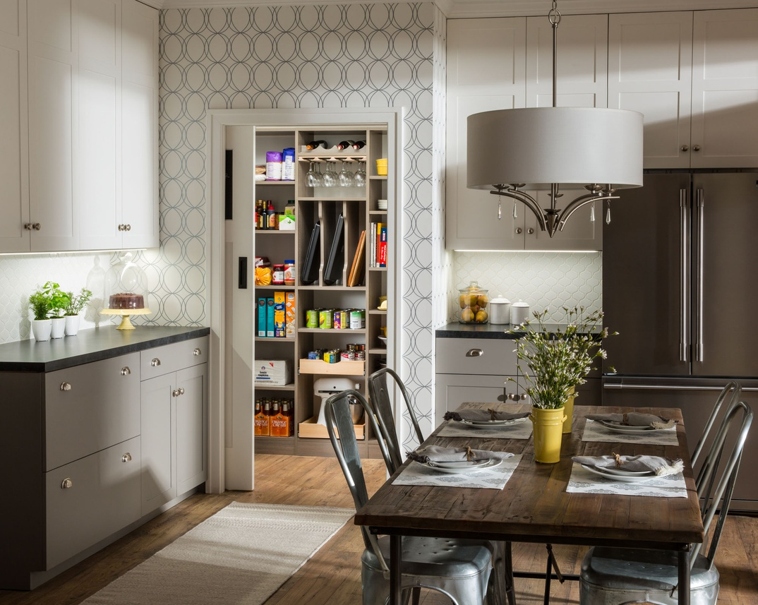 Walk-In Pantry with Corner Shelves