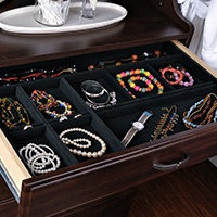 Jewelry Tray Hutch 18d x 18w Black Velvet