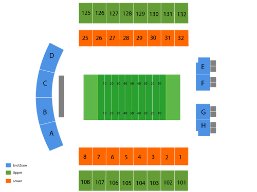 Delaware Blue Hens at Navy Midshipmen Football Venue Map