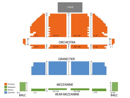 Stamford Center for the Arts - Palace Theater Seating Chart