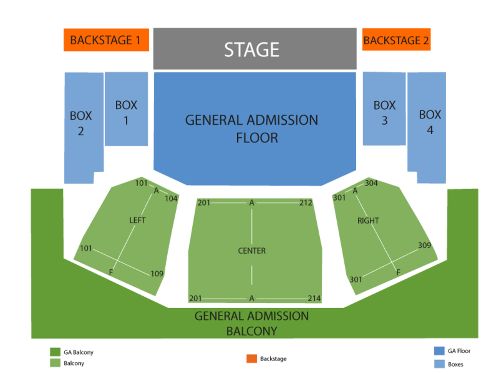 Seating Chart for End Stage GA Floor Seating Chart at House Of Blues (Cleveland)