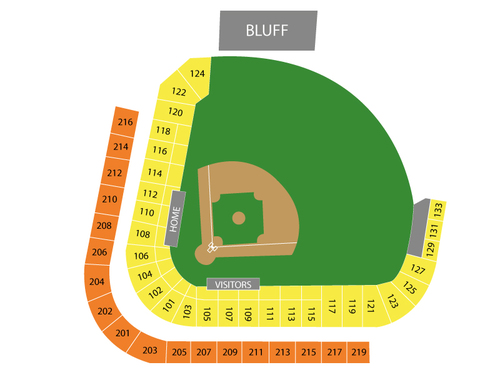 Omaha Storm Chasers at Memphis Redbirds Venue Map