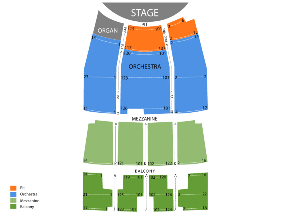 The Plaza Theatre Performing Arts Center seating map and tickets