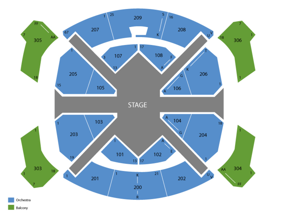 Cirque du Soleil: Love (The Beatles) Venue Map