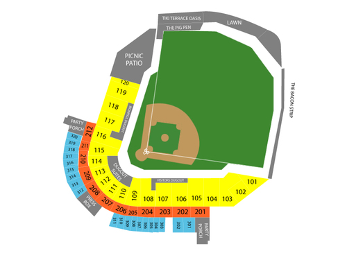 Toledo Mud Hens at Lehigh Valley IronPigs Venue Map