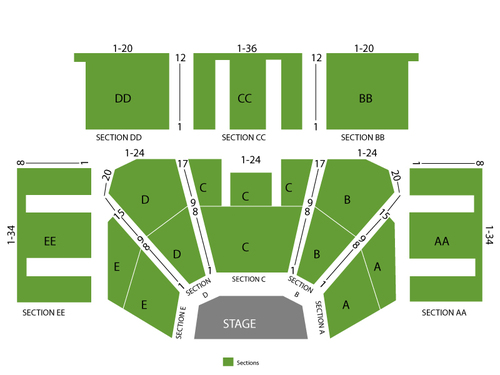 Bill Cosby Venue Map
