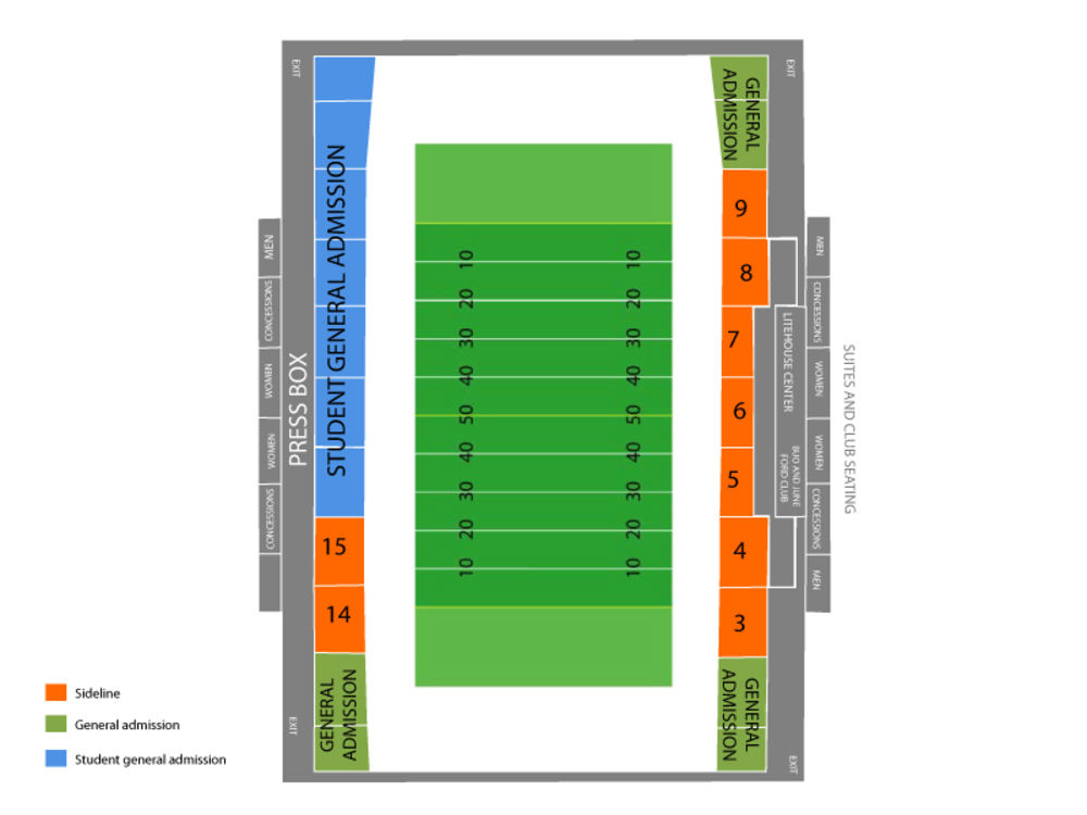 Seating Chart for Football Seating Chart at Kibbie Dome (Cowan Spectrum)