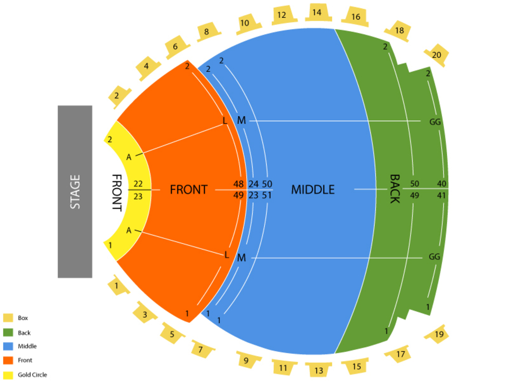 Lyell B Clay Concert Theatre seating map and tickets