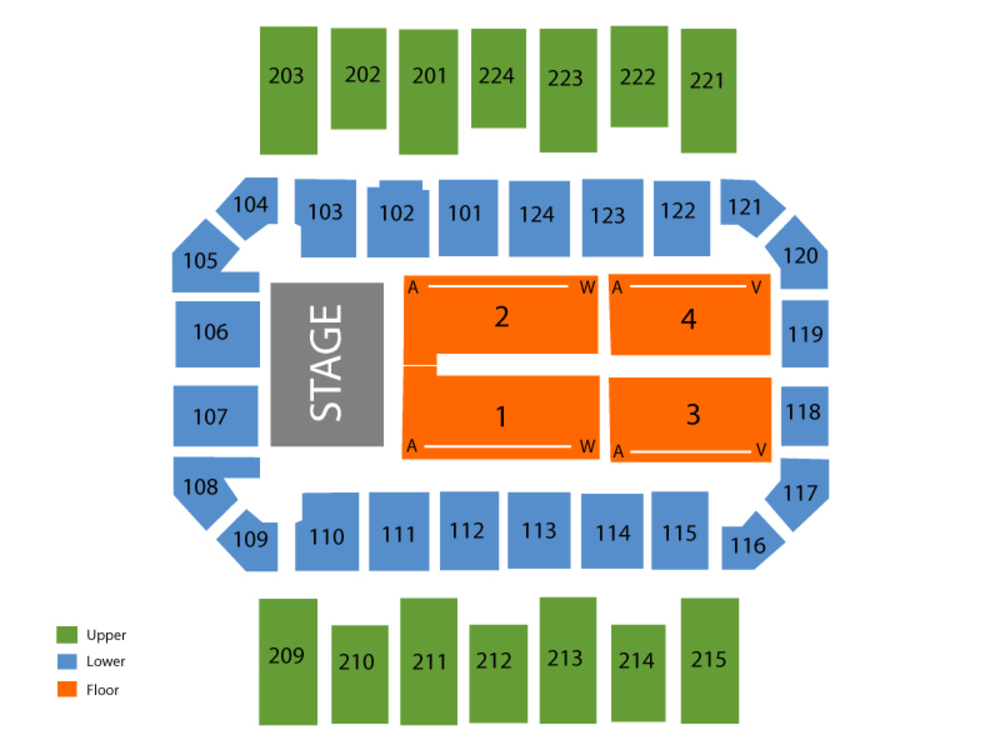 Seating Chart for End Stage Seating Chart at Augusta Civic Center (James Brown Arena)