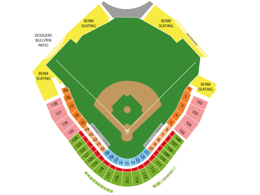 Spring Training: Texas Rangers (SS) at Los Angeles Dodgers Venue Map