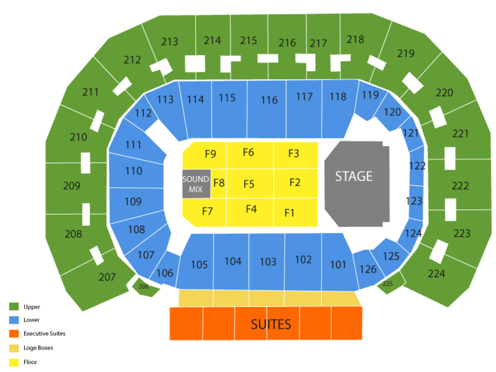 Seating Chart for End Stage Seating Chart at INTRUST Bank Arena