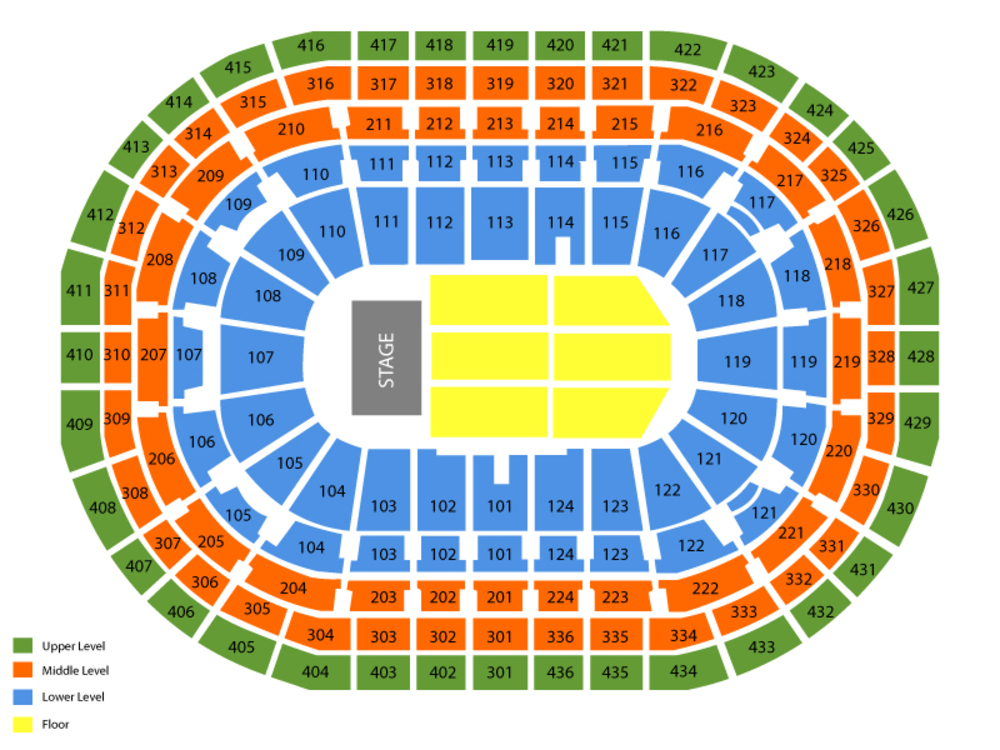 Seating Chart for End Stage Seating Chart at Bell Centre
