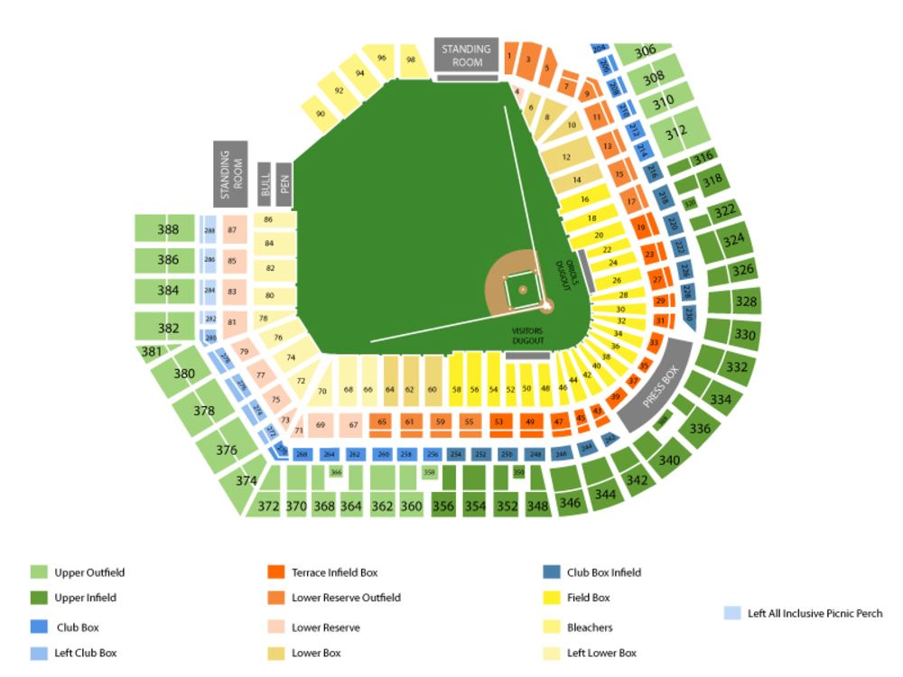 Toronto Blue Jays at Baltimore Orioles Venue Map