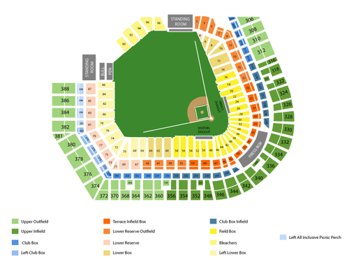 Texas Rangers at Baltimore Orioles Venue Map