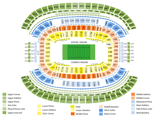 Dallas Cowboys Season Tickets Venue Map