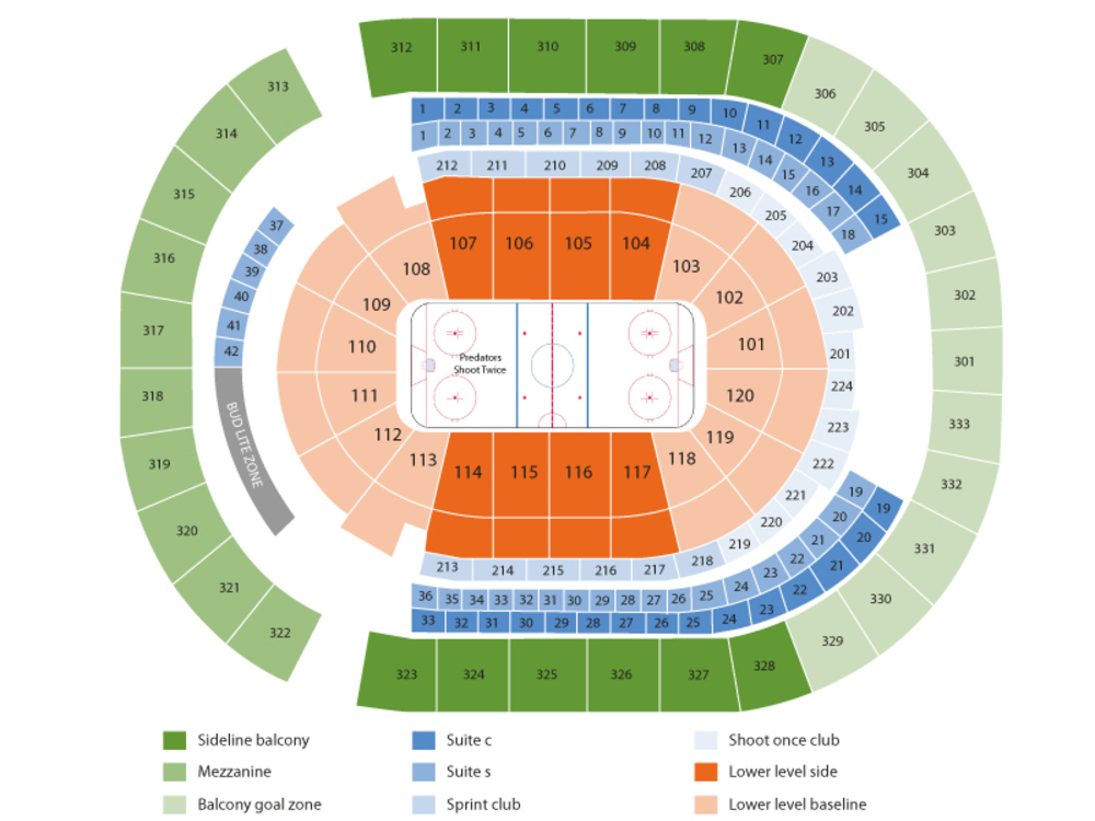 Colorado Avalanche at Nashville Predators Venue Map