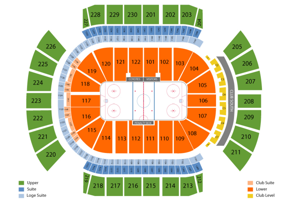 Pittsburgh Penguins at Arizona Coyotes Venue Map