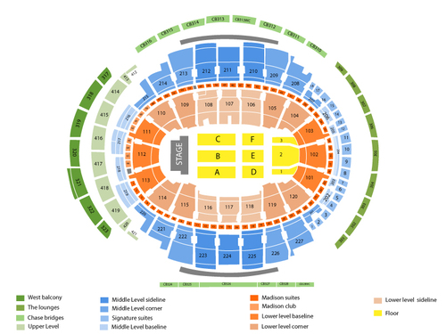 Z100's Jingle Ball: Miley Cyrus with Robin Thicke and Pitbull Venue Map