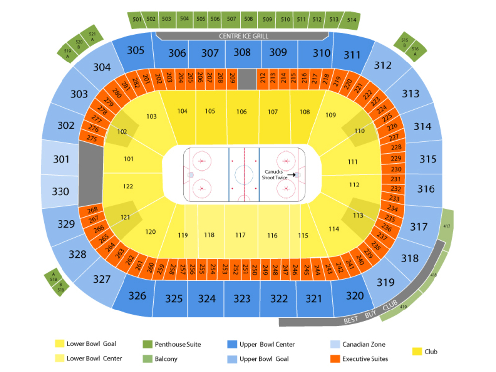 St. Louis Blues at Vancouver Canucks Venue Map